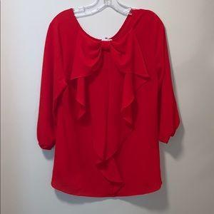 Sugar lips red chiffon blouse large